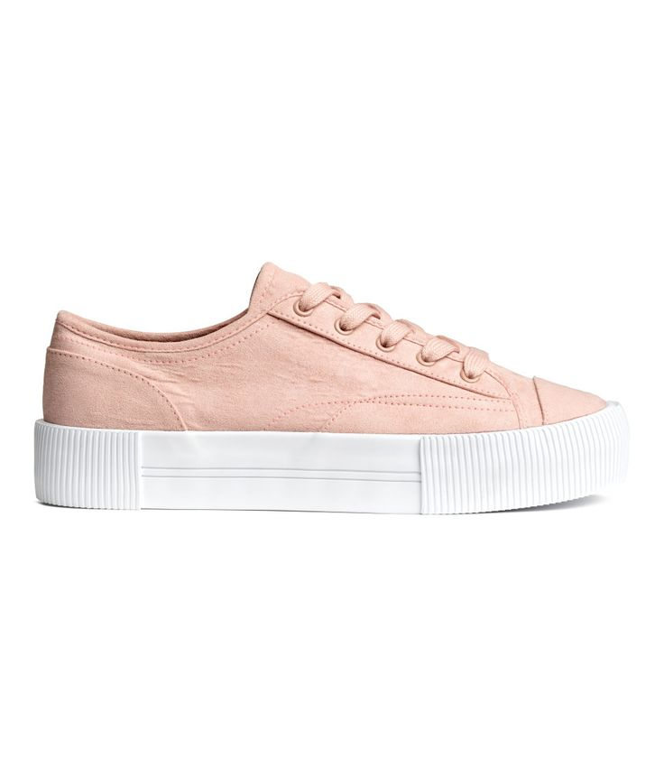 Check this out! Platform sneakers with lacing at front. Cotton canvas lining and insoles. Rubber soles. Platform height 1 1/2 in. - Visit hm.com to see more.