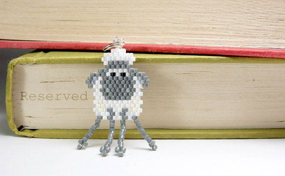 Beaded Sheep Charm Brick Stitch Bead Weaving by BeadCrumbs