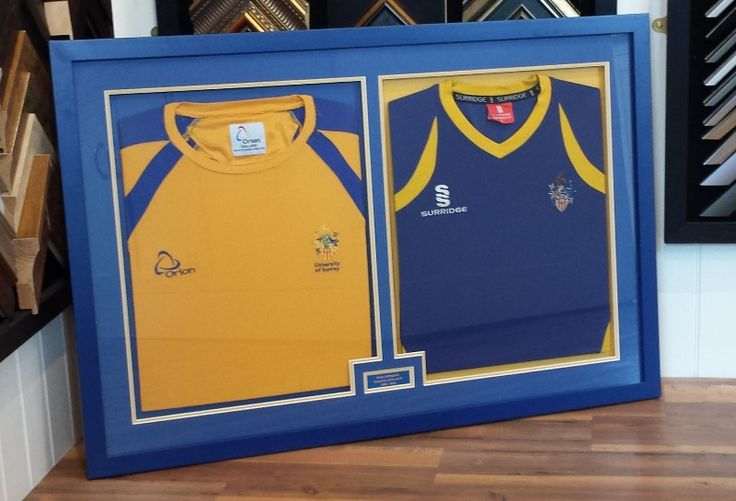 When one shirt isn't enough! We recently framed these two shirts with contrasting mounting.