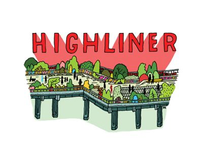 """Map and spot illustrations for H.P. France's new """"Highliner"""" guide celebrating the High Line Park in Chelsea, Manhattan, NYC. If you have not visited the High Line I really recommend it!"""