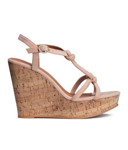 Check this out! Sandals in imitation suede with imitation cork wedge heels. Knotted straps at front, adjustable ankle strap with metal fastener, and imitation leather insoles. Rubber soles. Front platform height 1 1/2 in., heel height 4 1/2 in. - Visit hm.com to see more.