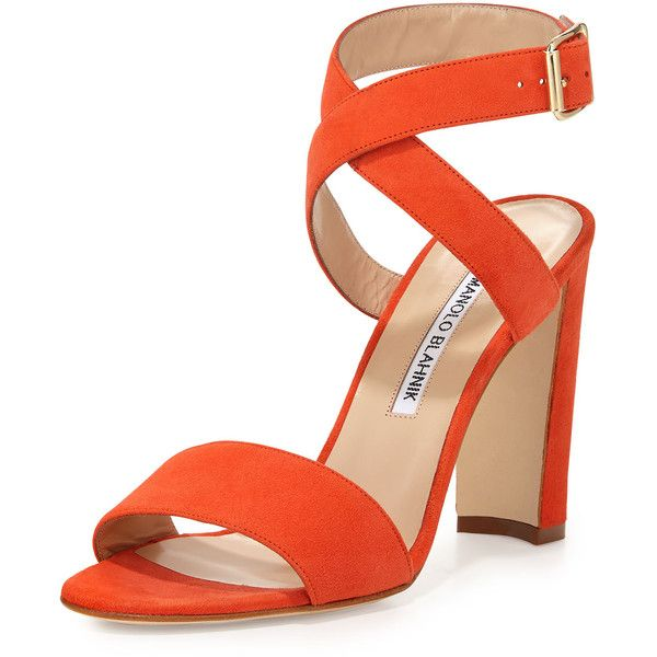 Manolo Blahnik Tondala Suede Ankle-Wrap Sandal ($795) ❤ liked on Polyvore featuring shoes, sandals, heels, orange, ankle strap shoes, open toe sandals, ankle strap sandals, block heel shoes and strappy heeled sandals