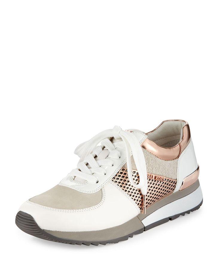 MICHAEL Michael Kors Allie Mixed-Media Trainer Sneaker, Optic White/Rose (Optic White/Pink), Size: 37.5B/7.5B