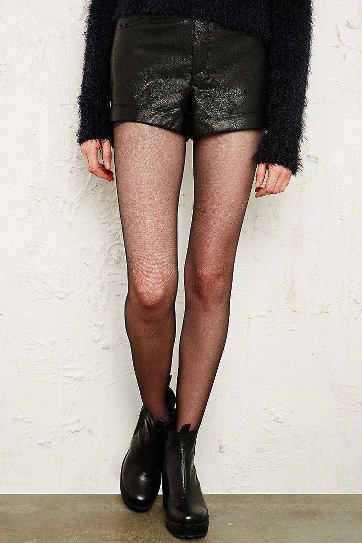 Sparkle & Fade PU Shorts in Black