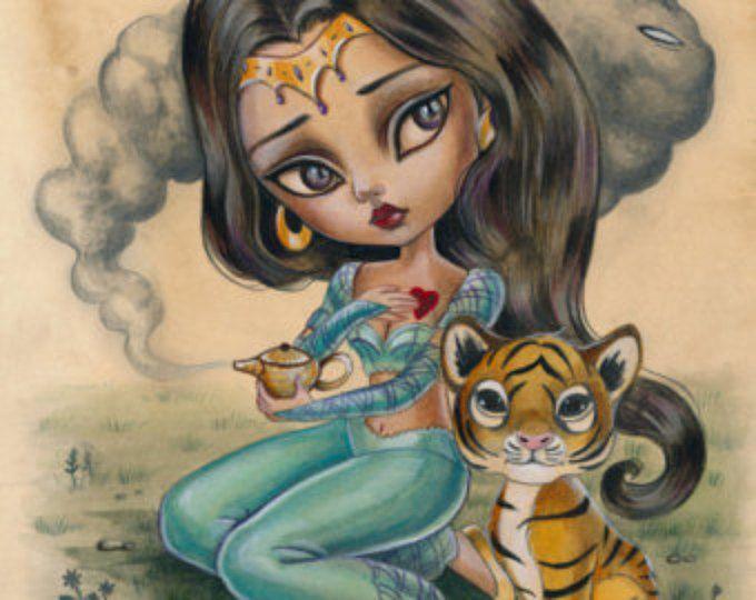 Princesa jazmín limitada edición impresa firmada numerada Simona Candini lowbrow pop surrealista grandes ojos tigre cuentos Aladino