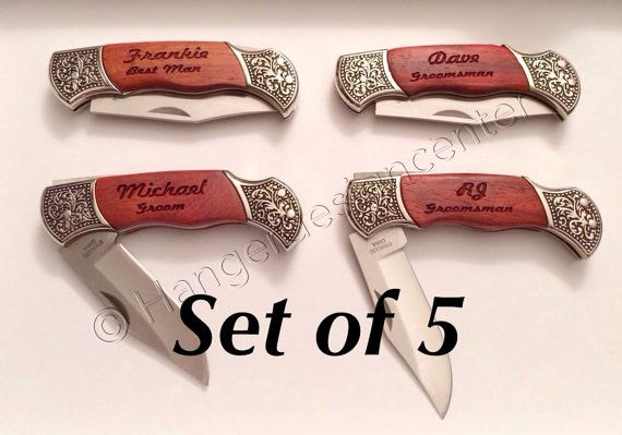 This listing is for five personalized pocket knife engraved with name and special title on one side and the date of event or special day on the other,,,, or anything you would like up to two lines on