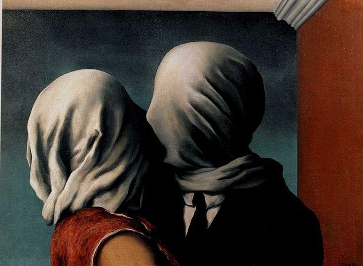 Галерея: Самые странные картины - Художники и арт-проекты, Рене Магритт «Влюбленные»  1928, холст, масло