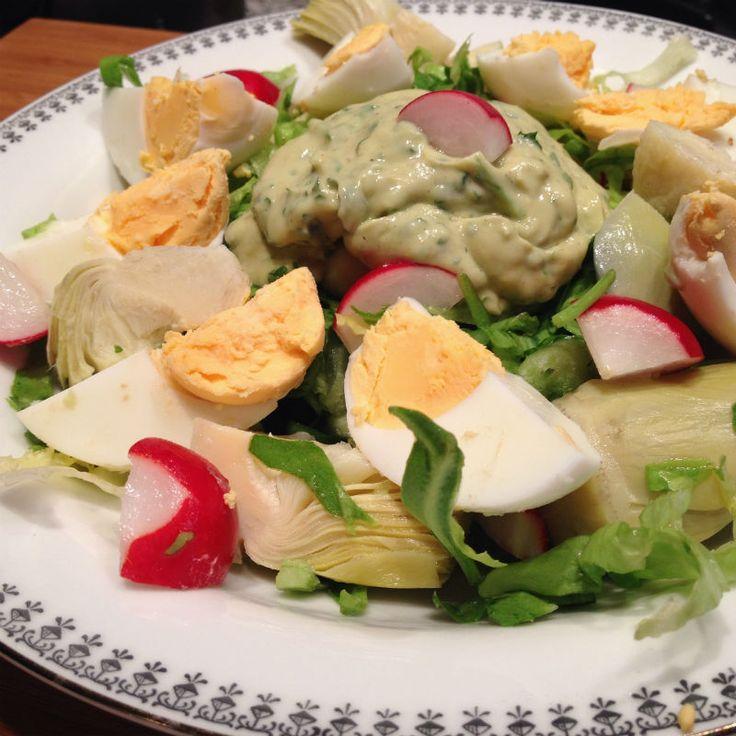 Andijvie salade met avocado dip eetclean.nl