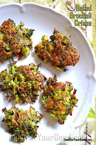 Baked Broccoli Crisps (FoodForYourGood) Sounds delish. Have to make it vegan though, but that's not a problem :)