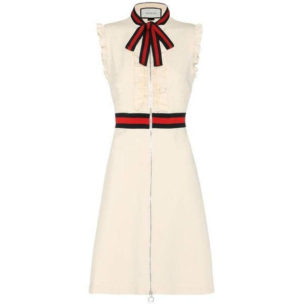 Gucci Crêpe Dress (£1,355) ❤ liked on Polyvore featuring dresses, gucci, white, white day dress, crepe dress, gucci dresses and white crepe dress