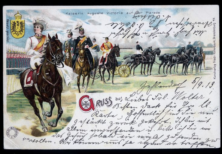 https://flic.kr/p/ewXPrj | Kaiserin Auguste Victoria zu Pferde | Stempel - Berlin-Zehlendorf 1913
