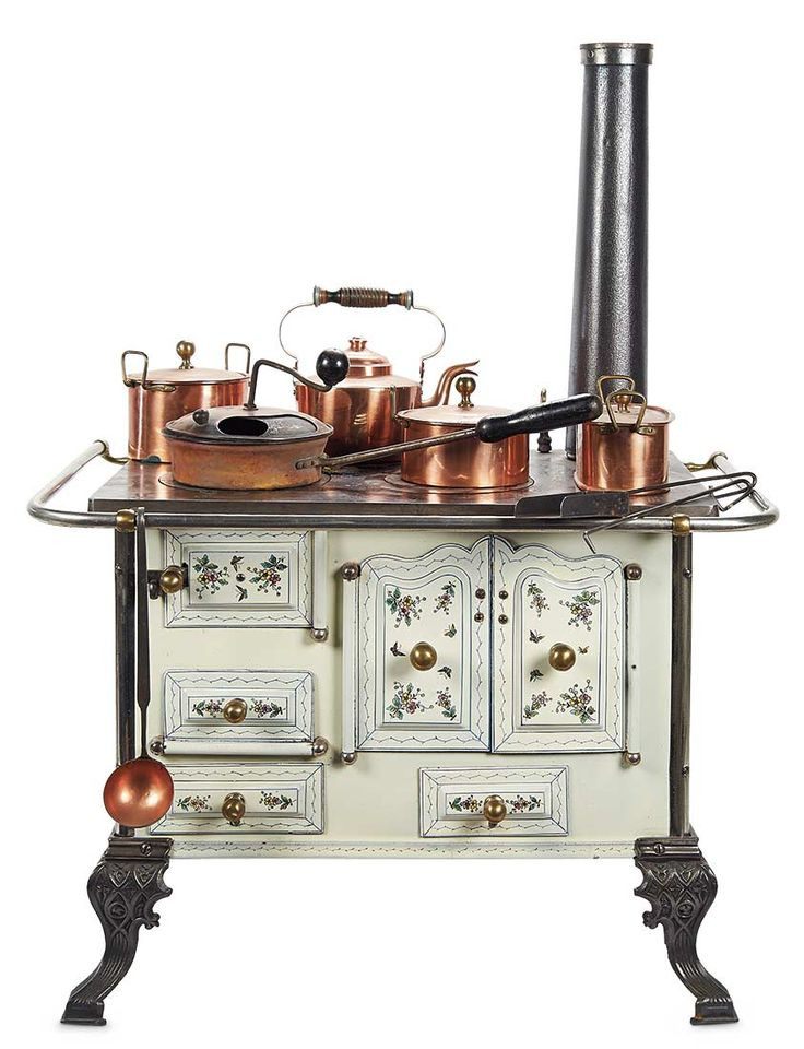 Theriault's. Fabulous 19th century child's stove with enamel decorations and original copper pots. Upcoming at Theriault's Stein am Rhein auction on March 29th and 30th, 2014 in Naples Florida. For more info please visit: www.theriaults.com/