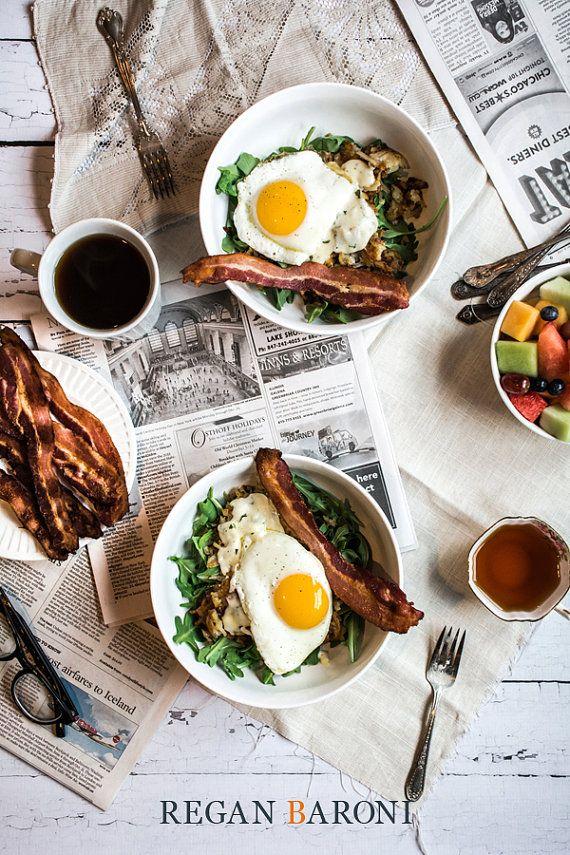 Brunch pour deux avec œufs et Bacon, photographies culinaires, décoration, Art de la cuisine, sticker, Restaurant Decor