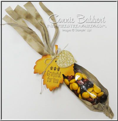 Stampin' Up!'s A Little Something and Leaflet Framelits to create an Indian Corn favor!  Thanksgiving, fall, autumn, #stampinup, favor, box, created by Connie Babbert, www.inkspiredtreasures.com