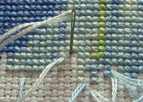 Pin stitch-another way to secure your thread when cross stitching..