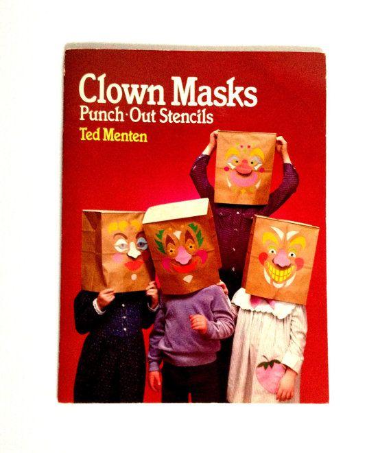 Vintage Clown Masks Punch-Out Stencils   Ted Menten  Vintage