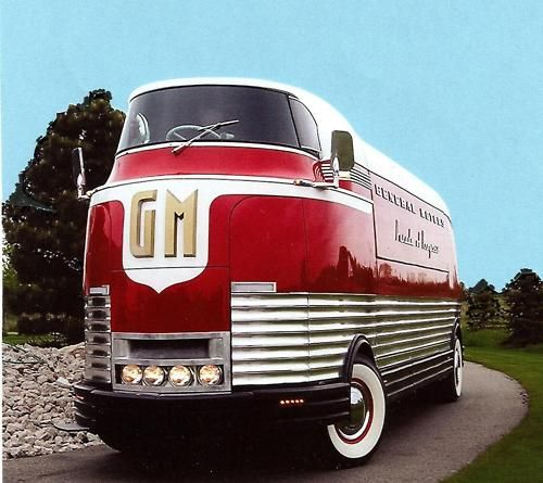 The GM Futurliners were a group of stylized buses designed in the 1940s by Harley Earl for General Motors. They were used in GM's Parade of Progress, which traveled the United States exhibiting new cars and technology. The Futurliners were used from 1940 to 1941 and again from 1953 to 1956. A total of 12 were built, and 9 were still known to exist as of 2007.: General Motors, Gmfuturlin, Guys Stuff, Bus, Vintage Cars, Gm Futurlin, Roads Trips, Concept Cars, Retro Style