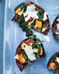 Squash-and-Kale Toasts / just swap out the Parm with Manchego :)