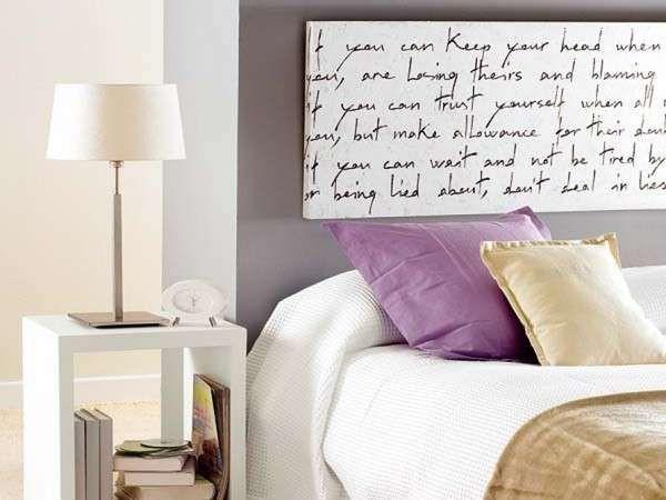 Realizzare una testata letto fai da te - Quadro con scritte