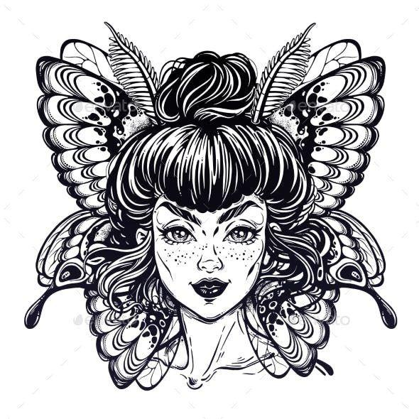Schmetterling Oder Motte Mit Elfenmadchengesicht Von Itskatjas Madchen Gesicht Zeichnung Madchen Gesicht Schmetterlingstatowierungen