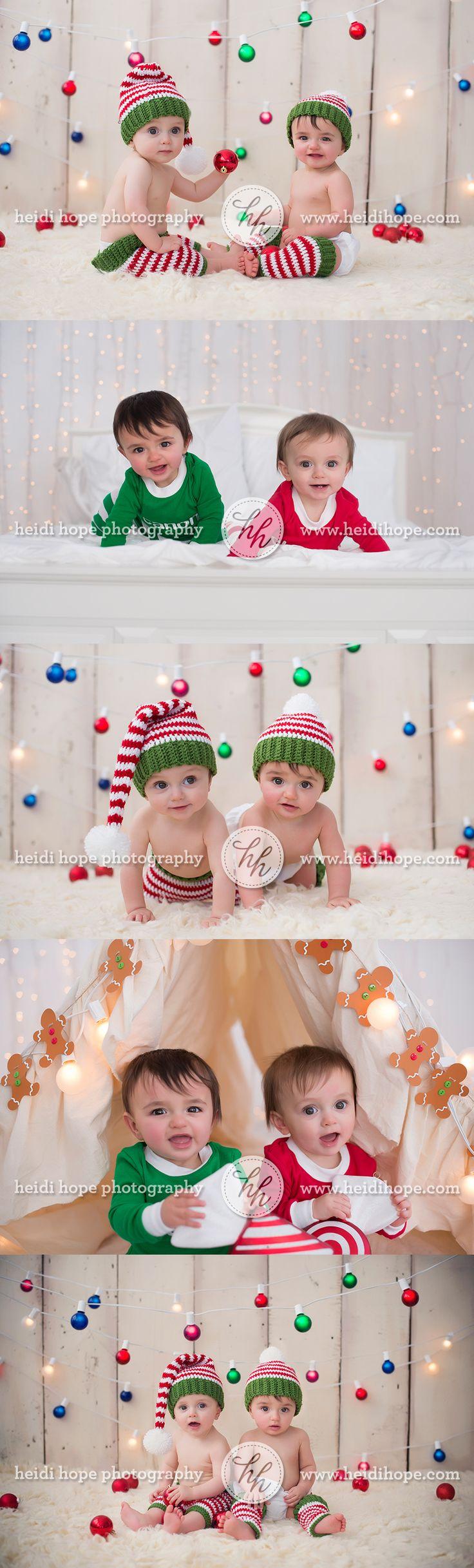 A sneak peek of the V twins holiday christmas card portrait session! | Heidi Hope Photography