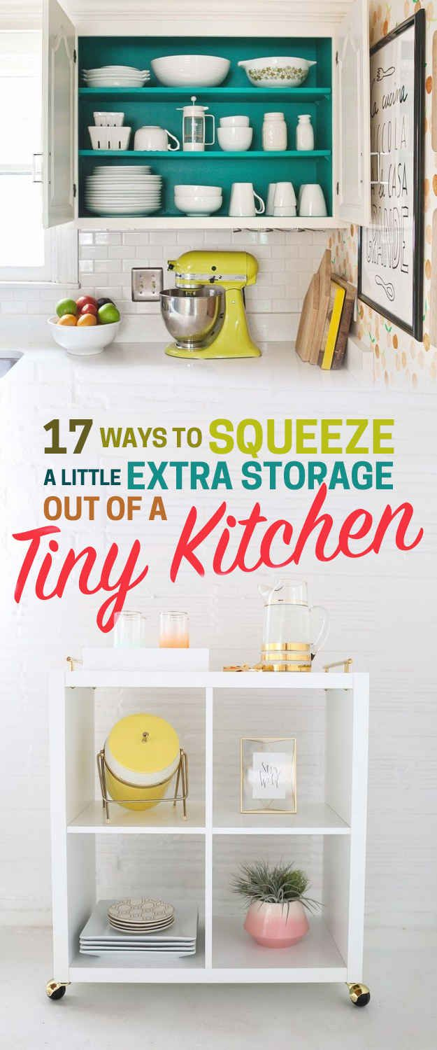 Extra storage storage and tiny kitchens on pinterest for Extra storage for small kitchen