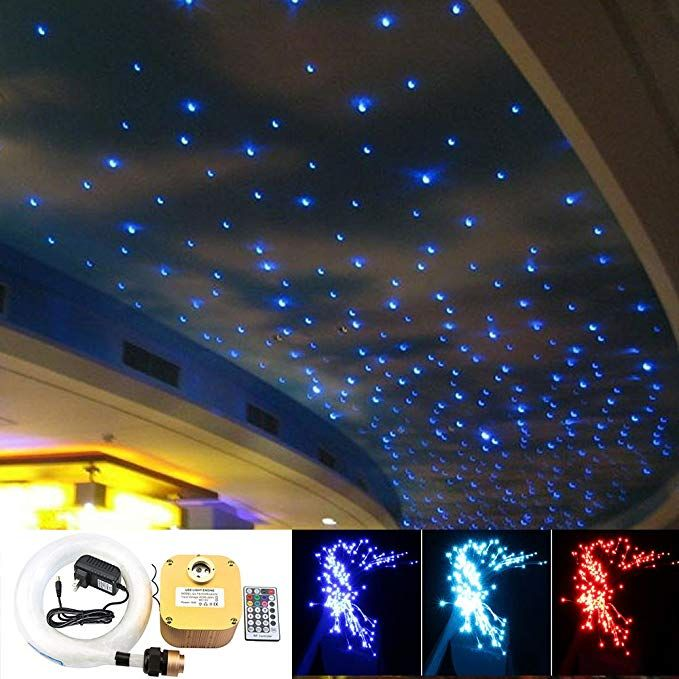 16w Twinkle Fiber Optic Star Ceiling Lights Lamp Kit Led Rgbw Engine Driver Rf Dimmable Remote Control Mix Star Lights On Ceiling Ceiling Lights Star Ceiling