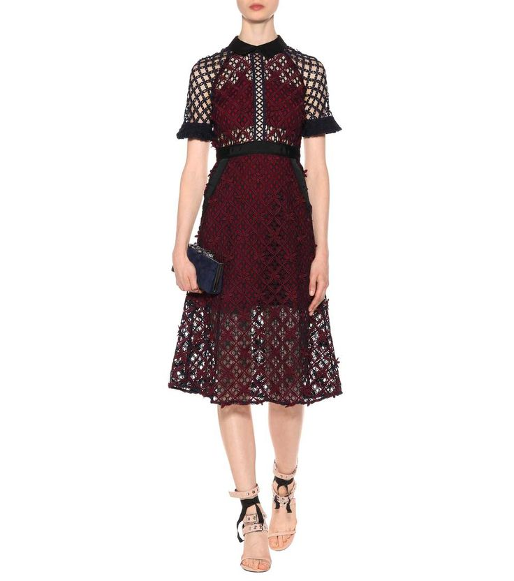 Self-Portrait - Abito midi Floral Grid in pizzo | mytheresa.com
