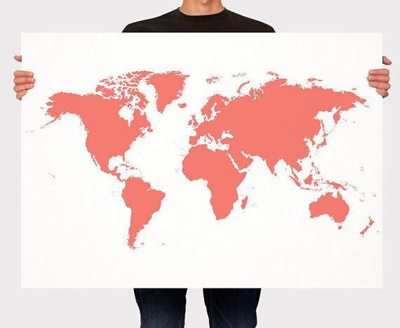 World Map Poster Art Wall Custom Color Personalized by Macanaz