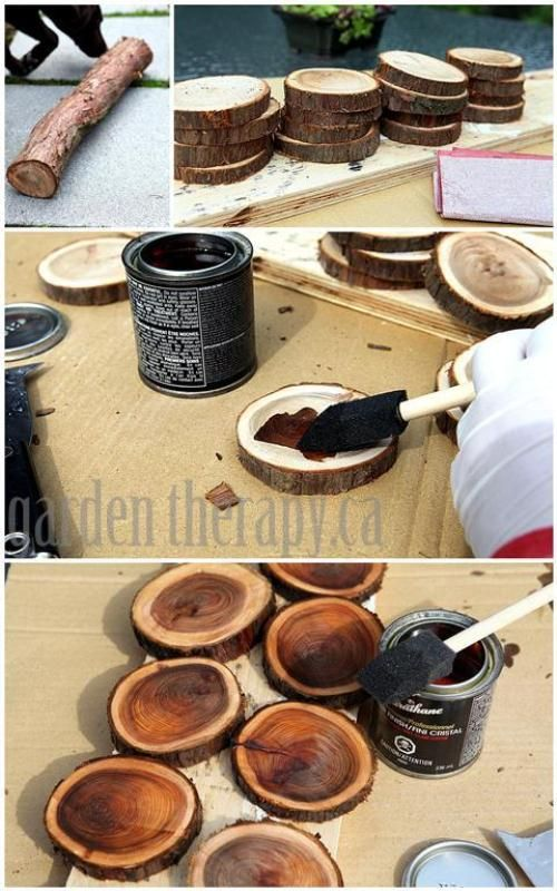 DIY Wood Branch Coasters - maybe instead of stain, soak in water color (multi-colors personally) and then clear varnish