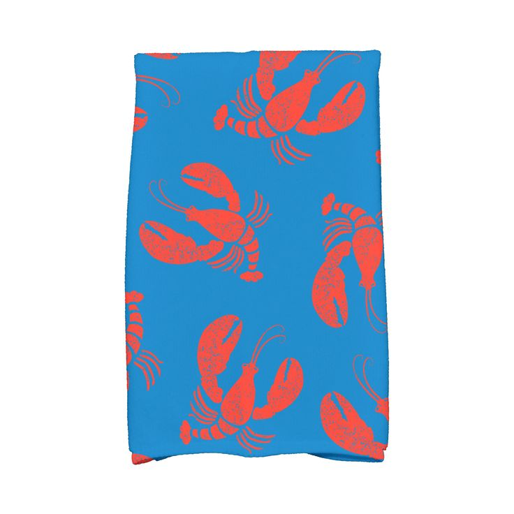 E by Design 16 x 25-inch Lobster Fest Animal Print Kitchen Towel (Blue)