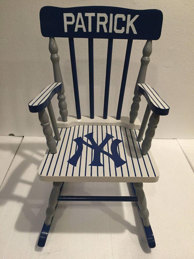 New York Yankees kids rocking chair - New York yankees nursery - New York yankees bedroom by JHatalaArt on Etsy