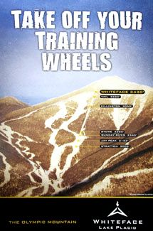 Whiteface Mountain TAKE OFF YOUR TRAINING WHEELS Poster - Lake Placid, New York - 2010 - available at www.sportsposterwarehouse.com