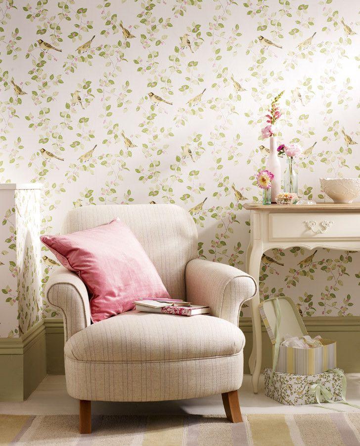 Laura Ashley Aviary Garden Apple Wallpaper