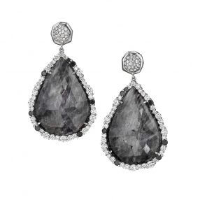 Couture Grey Sapphire and Diamond Earrings - Custom Teardrop Sapphires (59.11ct) with Black (0.93ct) and White (3.73ct) Pave Diamonds  18 Karat White Gold