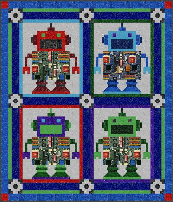422 best fun humorous quilts images on pinterest easy for Robot quilt fabric