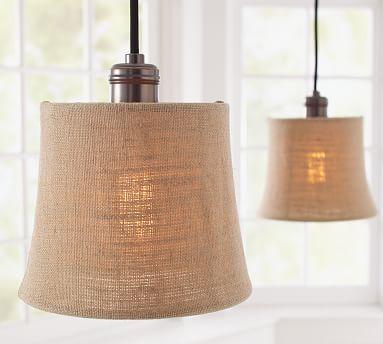 burlap shade pendant track lighting potterybarn
