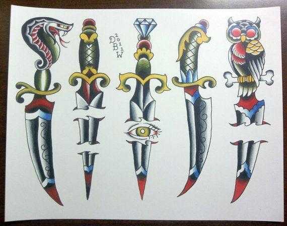 Dagues : Tatouage traditionnel feuille Flash par DerekBWard sur Etsy                                                                                                                                                                                 Plus