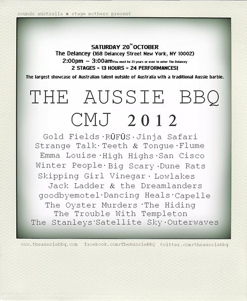 The Aussie BBQ CMJ 2012  20th October @TheDelancey #NYC