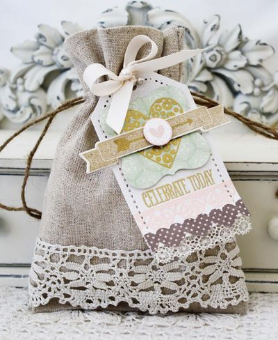 Celebrate Today Tag and Embellished Linen Drawstring Bag by Melissa Phillips for Papertrey Ink (March 2013)