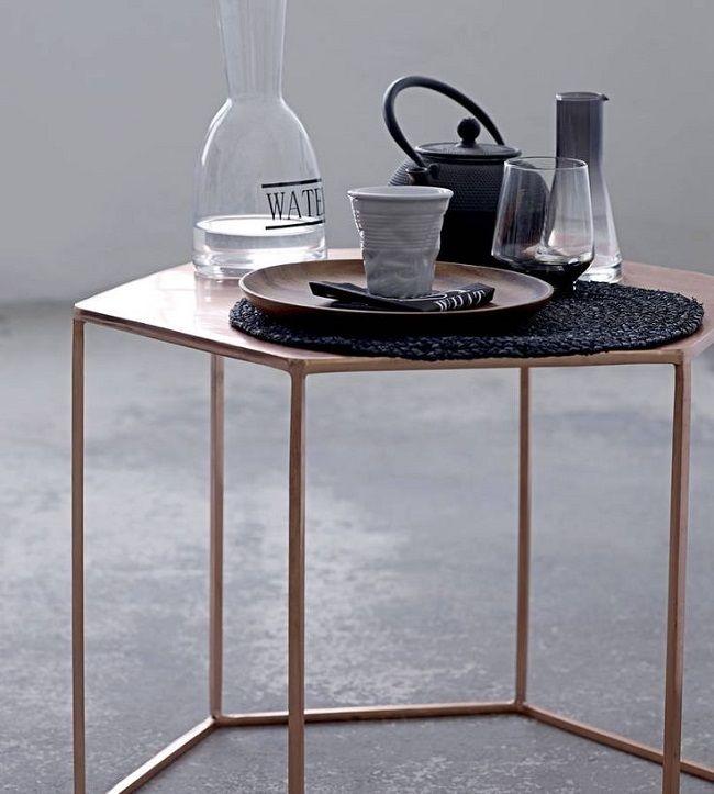 copper living room, hexagonal coffee table