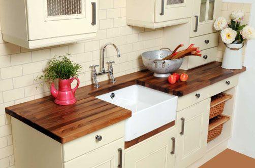 Mesada de madera el resto en blanco ideas cocinas for Materiales para mesones de cocina