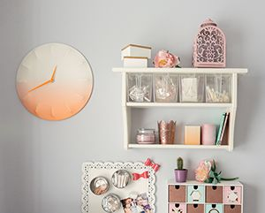 A grey wall with some white shelves and an orange wall clock13 best Box Room to Best Room   Office images on Pinterest  . Living Room Clocks Ikea. Home Design Ideas