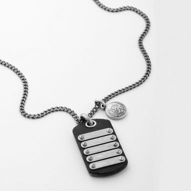Diesel DX0703040 men leather, steel necklace- WatchesnJewellery