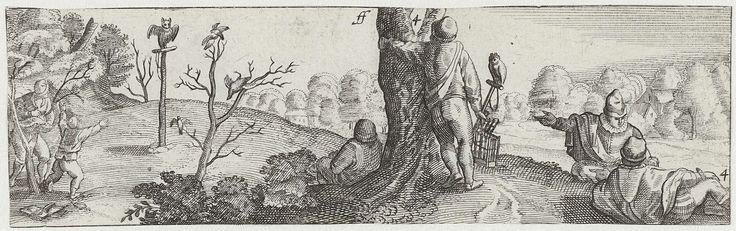 Anonymous | Vogelvangers, Anonymous, Hans Bol, Claes Jansz. Visscher (II), c. 1601 - c. 1652 | Twaalfde prent uit een serie van negentien met gezichten op de omgeving van Amsterdam. Landschap met vogelsvangers. Drie figuren liggen op een heuvel. Een figuur met vogelkooi in zijn hand leunt tegen een boom. Links op de achtergrond nog twee figuren.