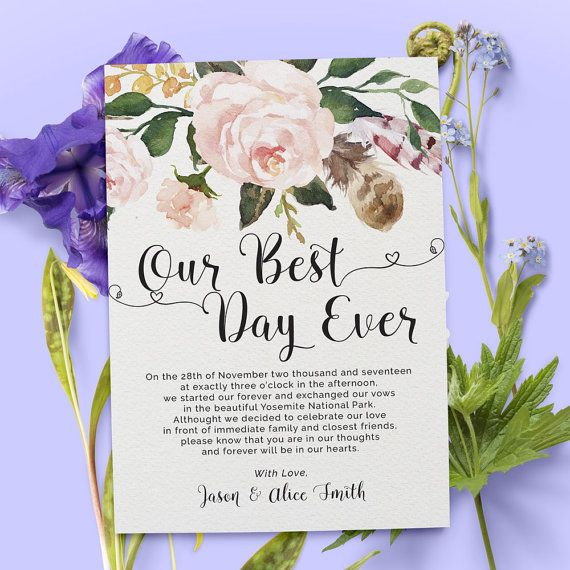 Our best day ever elopement announcement card. This wedding announcement card is beautiful and simple. Decorated with watercolor flower, you can personalized your own message to suit your wedding. Make your family and friends feel your love by sending your personalized message