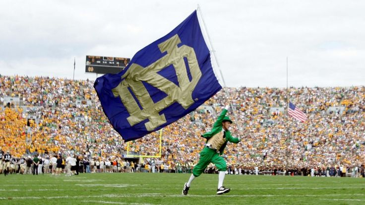 SOUTH BEND, IN - SEPTEMBER 17:  The Notre Dame Fighting Irish mascot carries the school flag on the field before the game against the Michigan State Spartans on September 17, 2005 at Notre Dame Stadium in South Bend, Indiana.  (Photo by Elsa/Getty Images)