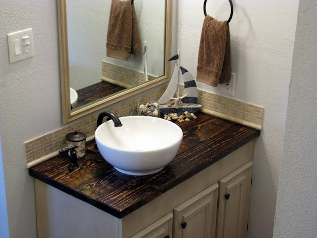 Great bathroom makeover with diy wood countertop decor for Master bathroom countertops
