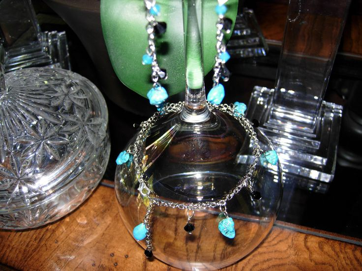 Turquoise with Black Swarovski Crystal Earrings and Anklet.