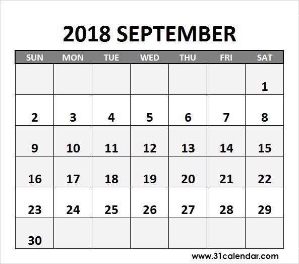 September Calendar 2018 JPG Image Editable 31 calendar Pinterest